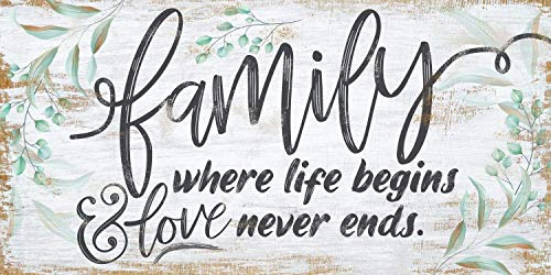 Family Where Life Begins Large Canvas Wall Art Stretched On A Heavy Wood Frame Ready To Hang Perfect For Above A Couch Makes A Great Housewarming Gift Under 50 0