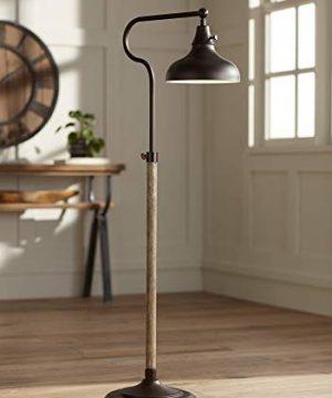 Ferris Rustic Farmhouse Pharmacy Floor Lamp Downbridge Bronze Faux Wood Adjustable Height For Living Room Reading Bedroom Office Franklin Iron Works 0 300x360