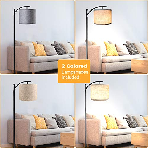 Floor Lamp For Living Room LED Standing Arc Floor Light With 2 Hanging Lamp ShadesBeigeGray Tall Pole Classic Industrial Black Floor Reading Lamp With 9W 3000K LED Bulb For Bedroom Study Office 0 0