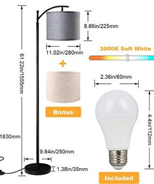 Floor Lamp For Living Room LED Standing Arc Floor Light With 2 Hanging Lamp ShadesBeigeGray Tall Pole Classic Industrial Black Floor Reading Lamp With 9W 3000K LED Bulb For Bedroom Study Office 0 1 300x360