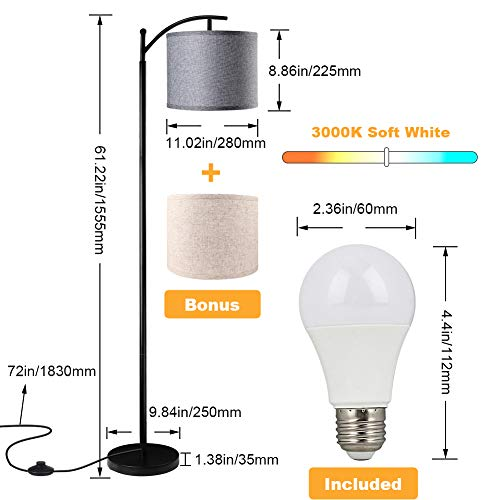 Floor Lamp For Living Room LED Standing Arc Floor Light With 2 Hanging Lamp ShadesBeigeGray Tall Pole Classic Industrial Black Floor Reading Lamp With 9W 3000K LED Bulb For Bedroom Study Office 0 1
