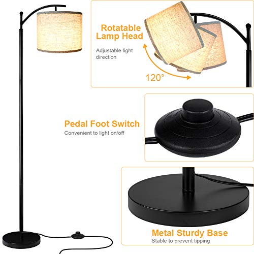 Floor Lamp For Living Room LED Standing Arc Floor Light With 2 Hanging Lamp ShadesBeigeGray Tall Pole Classic Industrial Black Floor Reading Lamp With 9W 3000K LED Bulb For Bedroom Study Office 0 2