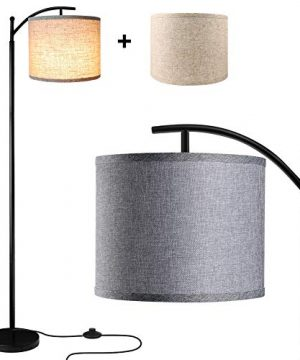 Floor Lamp For Living Room LED Standing Arc Floor Light With 2 Hanging Lamp ShadesBeigeGray Tall Pole Classic Industrial Black Floor Reading Lamp With 9W 3000K LED Bulb For Bedroom Study Office 0 300x360
