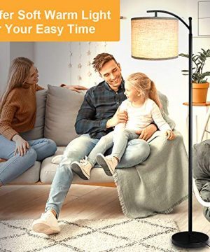 Floor Lamp For Living Room LED Standing Arc Floor Light With 2 Hanging Lamp ShadesBeigeGray Tall Pole Classic Industrial Black Floor Reading Lamp With 9W 3000K LED Bulb For Bedroom Study Office 0 4 300x360