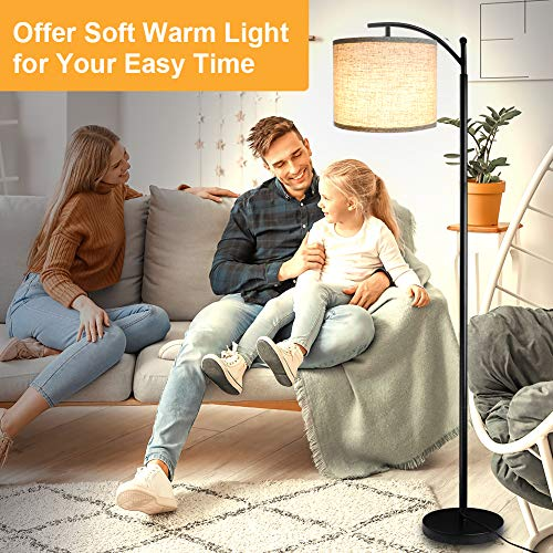 Floor Lamp For Living Room LED Standing Arc Floor Light With 2 Hanging Lamp ShadesBeigeGray Tall Pole Classic Industrial Black Floor Reading Lamp With 9W 3000K LED Bulb For Bedroom Study Office 0 4