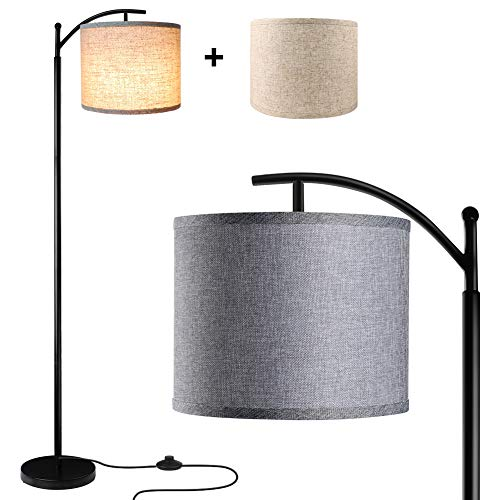Floor Lamp For Living Room LED Standing Arc Floor Light With 2 Hanging Lamp ShadesBeigeGray Tall Pole Classic Industrial Black Floor Reading Lamp With 9W 3000K LED Bulb For Bedroom Study Office 0