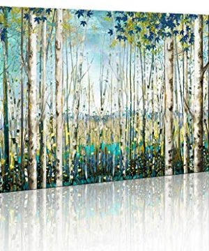 Green View White Birch Forest Canvas Painting Wall Art Decor Nature Plant Picture Wildlife Trees Landscape Artwork Home Living Room Bedroom Office Wall Decoration Wall Art 0 300x360