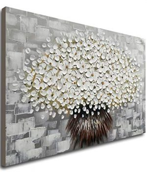 Hand Painted Modern Textured White Flower Oil Painting On Canvas Abstract Floral Artwork 0 300x360