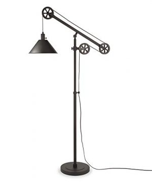 HennHart FL0022 Modern Industrial Pulley System Contemporary Blackened Bronze With Metal Shade For Living Room Office Study Or Bedroom Floor Lamp One Size Black 0 300x360