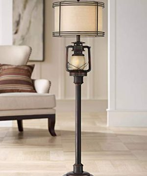 Henson Rustic Industrial Floor Lamp With Nightlight Glass Bronze Earthy Fabric Drum Shade For Living Room Reading Bedroom Office Barnes And Ivy 0 300x360