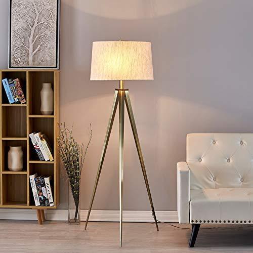 Hollywood Led Tripod Floor Lamp 63 Antique Satin Brass Clear Mid Century Modern Bulbs Included 0 1