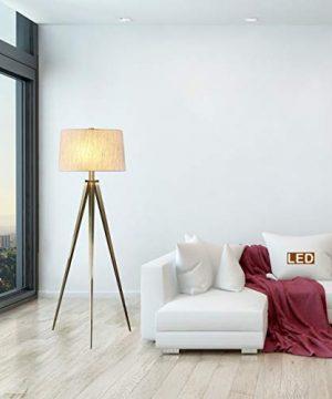 Hollywood Led Tripod Floor Lamp 63 Antique Satin Brass Clear Mid Century Modern Bulbs Included 0 300x360