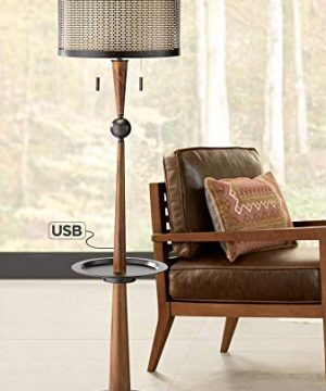 Hunter Floor Lamp With Tray Table And USB Port Franklin Iron Works 0 300x360