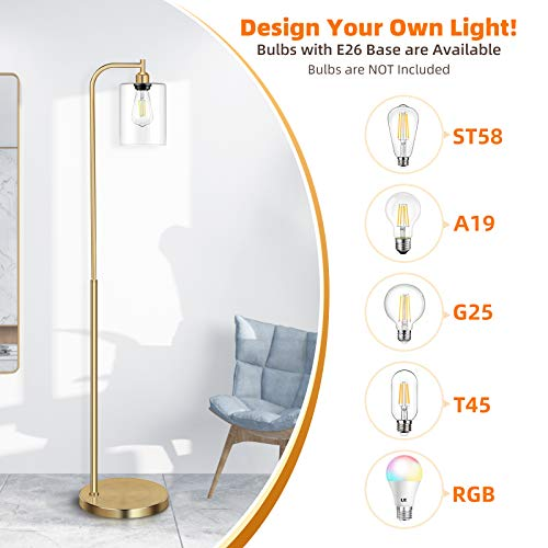 Industrial Floor Lamp With Hanging Glass Shade Brass Gold Farmhouse Indoor Pole Light With Edison E26 Base Vintage Rustic Standing Tall Lighting For Living Room Bedroom Office 0 3