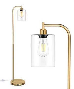Industrial Floor Lamp With Hanging Glass Shade Brass Gold Farmhouse Indoor Pole Light With Edison E26 Base Vintage Rustic Standing Tall Lighting For Living Room Bedroom Office 0 300x360