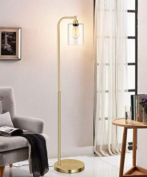 Industrial Floor Lamp With Hanging Glass Shade Brass Gold Farmhouse Indoor Pole Light With Edison E26 Base Vintage Rustic Standing Tall Lighting For Living Room Bedroom Office 0 4 300x360