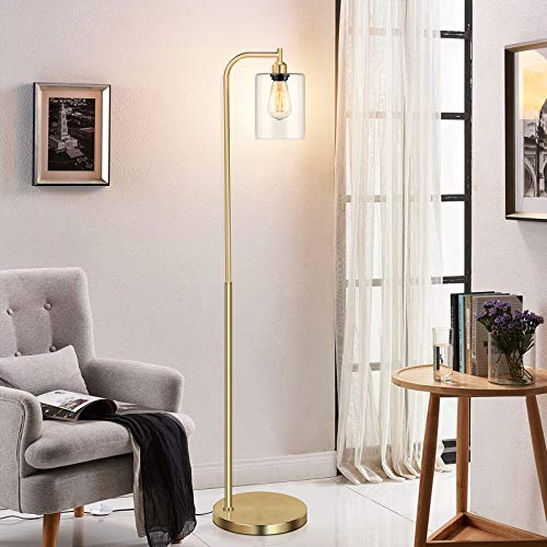 Industrial Floor Lamp With Hanging Glass Shade Brass Gold Farmhouse Indoor Pole Light With Edison E26 Base Vintage Rustic Standing Tall Lighting For Living Room Bedroom Office 0 4