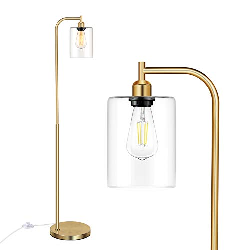 Industrial Floor Lamp With Hanging Glass Shade Brass Gold Farmhouse Indoor Pole Light With Edison E26 Base Vintage Rustic Standing Tall Lighting For Living Room Bedroom Office 0