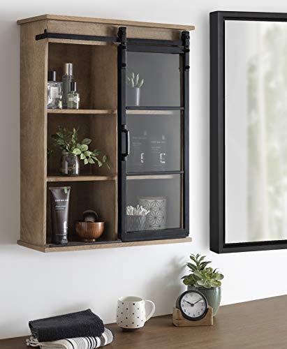 Kate And Laurel Barnhardt Wooden Wall Cabinet With Sliding Glass Door 22 X 28 Rustic Brown Barndoor Modern Farmhouse Storage 0 0