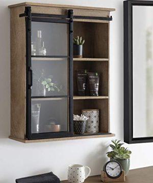Kate And Laurel Barnhardt Wooden Wall Cabinet With Sliding Glass Door 22 X 28 Rustic Brown Barndoor Modern Farmhouse Storage 0 1 300x360