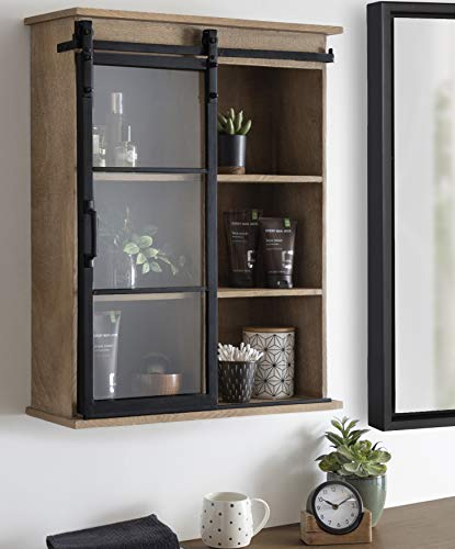 Kate And Laurel Barnhardt Wooden Wall Cabinet With Sliding Glass Door 22 X 28 Rustic Brown Barndoor Modern Farmhouse Storage 0 1