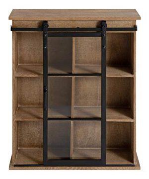 Kate And Laurel Barnhardt Wooden Wall Cabinet With Sliding Glass Door 22 X 28 Rustic Brown Barndoor Modern Farmhouse Storage 0 4 300x360