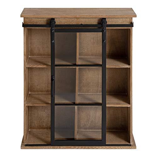 Kate And Laurel Barnhardt Wooden Wall Cabinet With Sliding Glass Door 22 X 28 Rustic Brown Barndoor Modern Farmhouse Storage 0 4