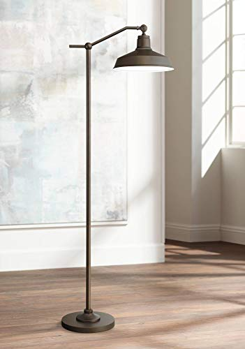 Kayne Modern Downbridge Floor Lamp Satin Bronze Metal Shade Step Switch For Living Room Reading Bedroom Office 360 Lighting 0