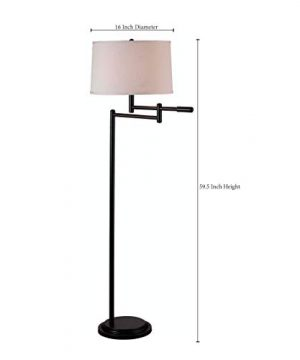 Kenroy Home Modern Swing Arm Floor Lamp 595 Inch Height With Black Copper Bronze Finish 0 1 300x360