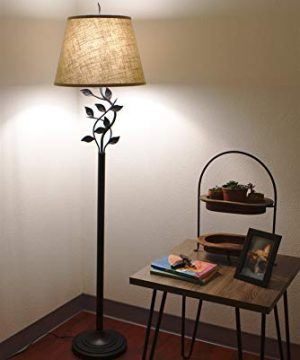 Kira Home Ambrose 60 Traditional Rustic Floor Lamp Beige Fabric Shade Leaf Detailed Body 9W LED Bulb Energy Efficient Eco Friendly Matte Black Finish 0 300x360