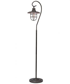 Kira Home Lantern 58 Industrial Nautical Floor Lamp 6W Bulb Energy Efficient Eco Friendly Hanging Shade Design Cage Brushed Pewter Finish 0 300x360