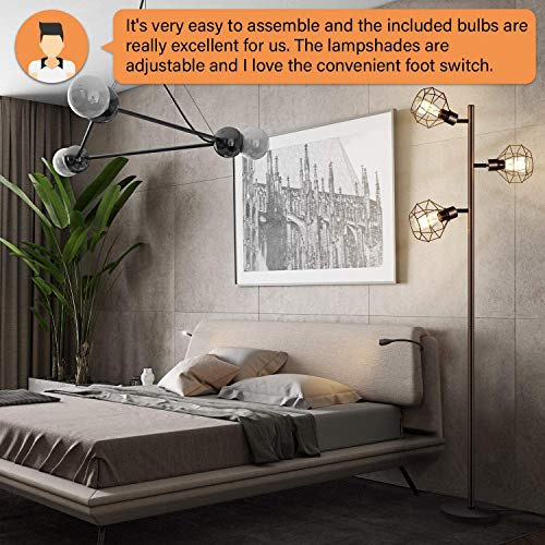 LED Industrial Floor Lamp Standing Lamp With 3 Adjustable Heads Tree Floor Lamp Rustic Floor Lamp Farmhouse Tall Stand Up Lamps For Living Room Bedroom Office 3 Vintage LED Bulbs Included 0 1