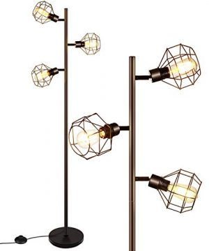 LED Industrial Floor Lamp Standing Lamp With 3 Adjustable Heads Tree Floor Lamp Rustic Floor Lamp Farmhouse Tall Stand Up Lamps For Living Room Bedroom Office 3 Vintage LED Bulbs Included 0 300x360