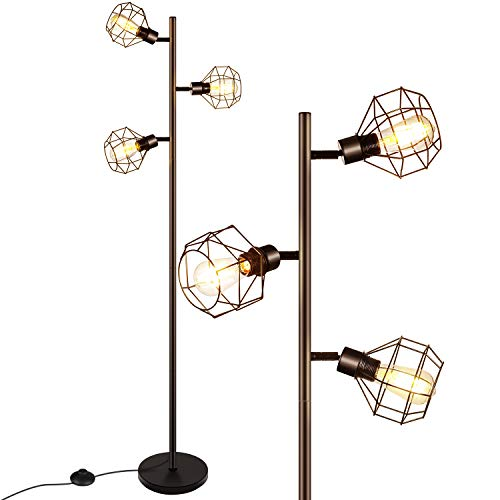 LED Industrial Floor Lamp Standing Lamp With 3 Adjustable Heads Tree Floor Lamp Rustic Floor Lamp Farmhouse Tall Stand Up Lamps For Living Room Bedroom Office 3 Vintage LED Bulbs Included 0