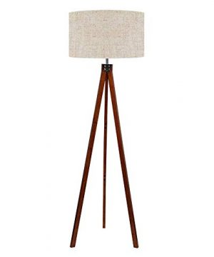 LEPOWER Wood Tripod Floor Lamp Mid Century Standing Lamp Modern Design Studying Light For Living Room Bedroom Study Room And Office Flaxen Lamp Shade With E26 Lamp Base 0 300x360