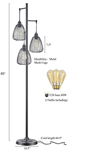 LeeZM Black Industrial Floor Lamp For Living Room Modern Floor Lighting Rustic Tall Stand Up Lamp Vintage Farmhouse Tree Floor Lamps For Bedrooms Office Torchiere Standing Lamp 3 Light Bulbs Included 0 0