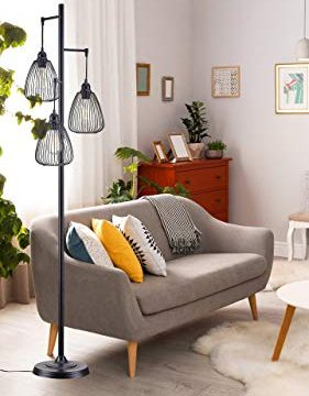 LeeZM Black Industrial Floor Lamp For Living Room Modern Floor Lighting Rustic Tall Stand Up Lamp Vintage Farmhouse Tree Floor Lamps For Bedrooms Office Torchiere Standing Lamp 3 Light Bulbs Included 0 2 281x360