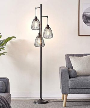 LeeZM Black Industrial Floor Lamp For Living Room Modern Floor Lighting Rustic Tall Stand Up Lamp Vintage Farmhouse Tree Floor Lamps For Bedrooms Office Torchiere Standing Lamp 3 Light Bulbs Included 0 3 300x360