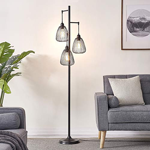 LeeZM Black Industrial Floor Lamp For Living Room Modern Floor Lighting Rustic Tall Stand Up Lamp Vintage Farmhouse Tree Floor Lamps For Bedrooms Office Torchiere Standing Lamp 3 Light Bulbs Included 0 3