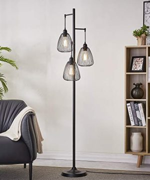LeeZM Black Industrial Floor Lamp For Living Room Modern Floor Lighting Rustic Tall Stand Up Lamp Vintage Farmhouse Tree Floor Lamps For Bedrooms Office Torchiere Standing Lamp 3 Light Bulbs Included 0 300x360