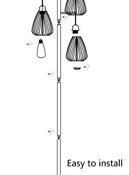 LeeZM Black Industrial Floor Lamp For Living Room Modern Floor Lighting Rustic Tall Stand Up Lamp Vintage Farmhouse Tree Floor Lamps For Bedrooms Office Torchiere Standing Lamp 3 Light Bulbs Included 0 5 265x360