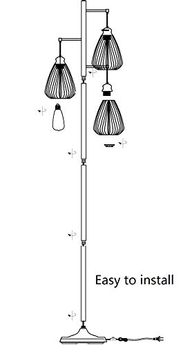 LeeZM Black Industrial Floor Lamp For Living Room Modern Floor Lighting Rustic Tall Stand Up Lamp Vintage Farmhouse Tree Floor Lamps For Bedrooms Office Torchiere Standing Lamp 3 Light Bulbs Included 0 5