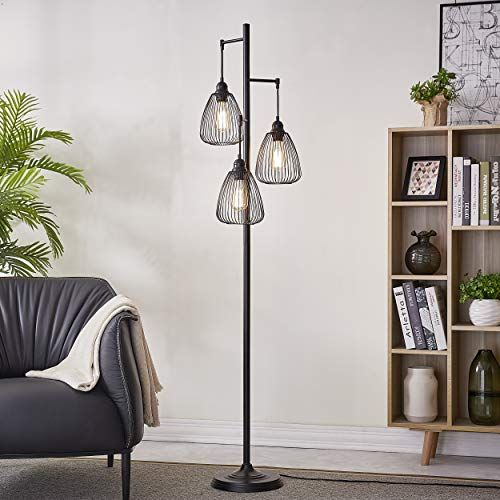 LeeZM Black Industrial Floor Lamp For Living Room Modern Floor Lighting Rustic Tall Stand Up Lamp Vintage Farmhouse Tree Floor Lamps For Bedrooms Office Torchiere Standing Lamp 3 Light Bulbs Included 0