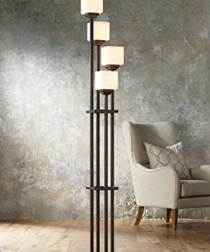 Light Tree Mission Torchiere Floor Lamp 4 Light Bronze Iron Square Sided White Glass Shades For Living Room Bedroom Franklin Iron Works 0 300x360