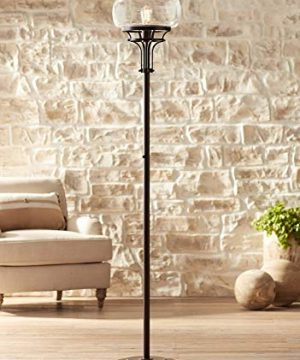 Luz Industrial Torchiere Floor Lamp Oil Rubbed Bronze Clear Glass For Living Room Bedroom Office Uplight Franklin Iron Works 0 300x360