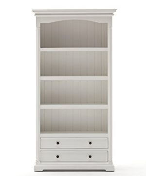 NovaSolo Provence Pure White Mahogany Wood Bookcase With 4 Shelves And 2 Drawers 0 0 300x360
