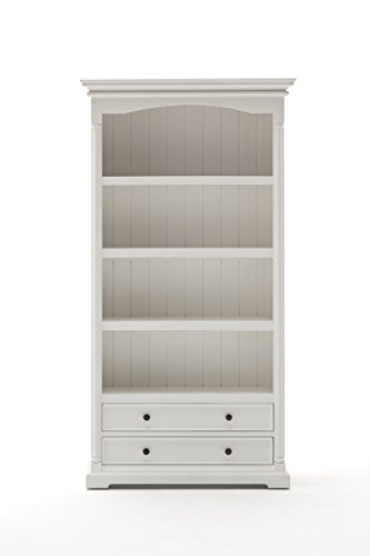 NovaSolo Provence Pure White Mahogany Wood Bookcase With 4 Shelves And 2 Drawers 0 0