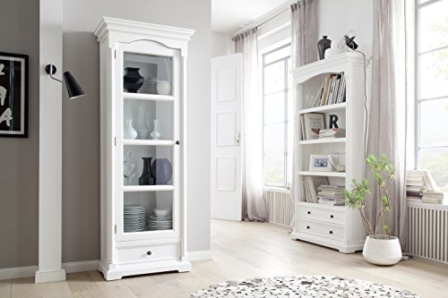 NovaSolo Provence Pure White Mahogany Wood Bookcase With 4 Shelves And 2 Drawers 0