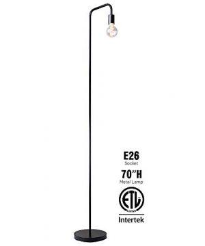 OBright Industrial Floor Lamp For Living Room 100 Metal Lamp 70 UL Certified Ceramic E26 Socket Minimalist Design For Decorative Lighting Stand Lamp For BedroomOfficeDorm ETL Listed Black 0 300x360