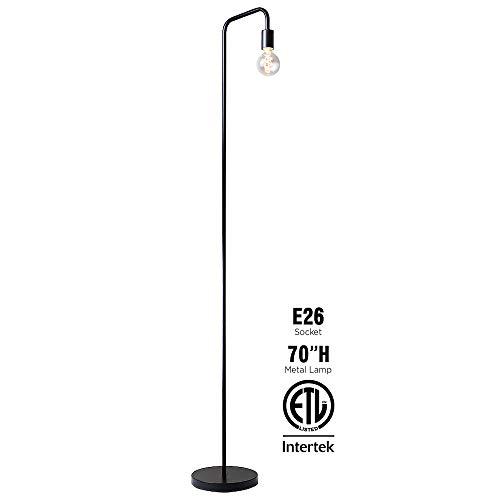 OBright Industrial Floor Lamp For Living Room 100 Metal Lamp 70 UL Certified Ceramic E26 Socket Minimalist Design For Decorative Lighting Stand Lamp For BedroomOfficeDorm ETL Listed Black 0